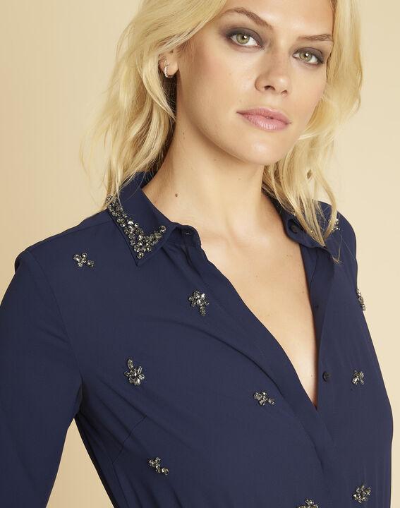Marineblaues Kleid im Materialmix mit Schmuckdetails Nora (2) - 1-2-3