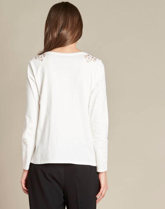 Ecrufarbenes T-Shirt mit Spitzeneinsatz Ecrin (4) - 1-2-3