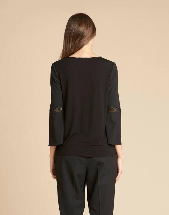 Echecs black dual-fabric blouse with lace insets (4) - 1-2-3
