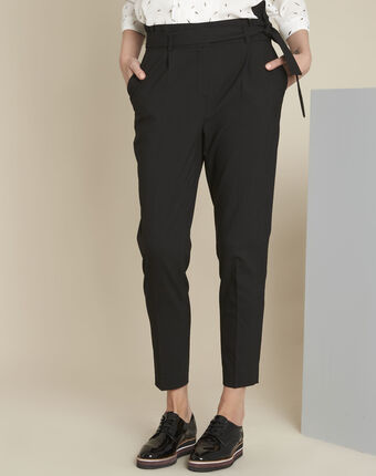 Hemy black belted trousers black.