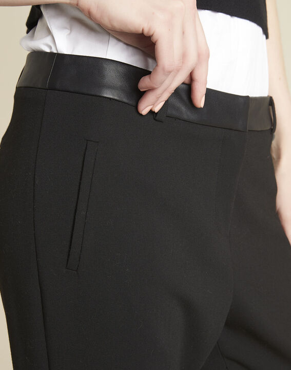 Lara compact black trousers with a leather-effect belt (3) - Maison 123