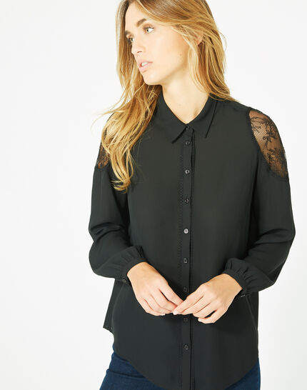 Delta black blouse with shirt collar (2) - 1-2-3