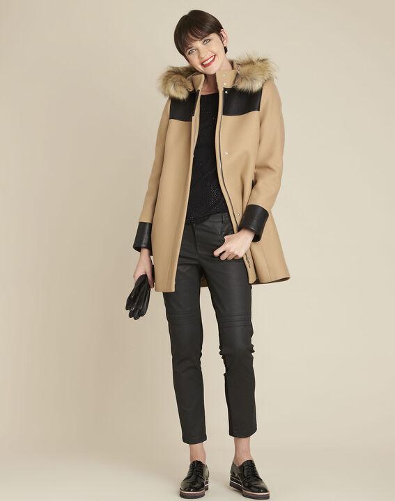 Camelfarbener Mantel mit Kapuze aus Wollgemisch Princesse (2) - 1-2-3