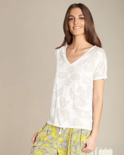 Ecrufarbenes T-Shirt mit Palmenprint Eflore (2) - 1-2-3