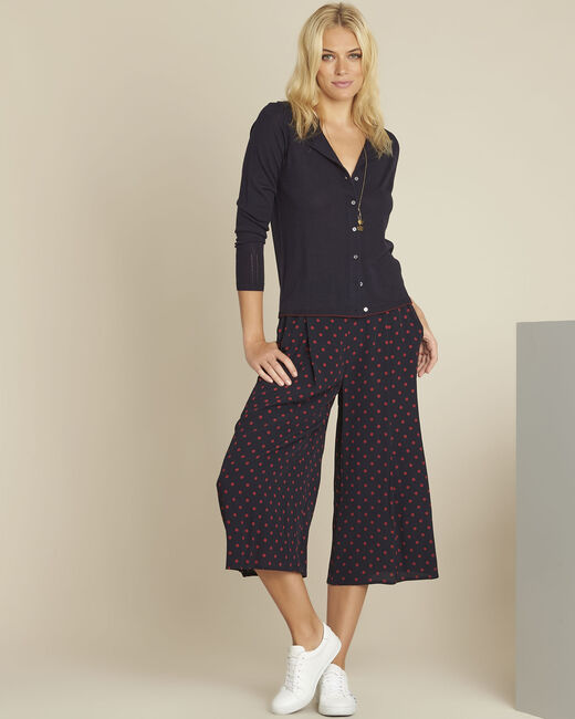 Pantalon cropped marine à pois rouge Haley (2) - 37653