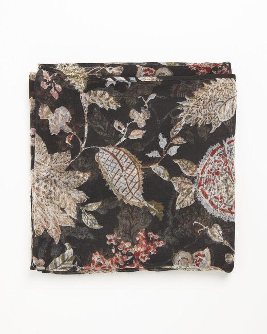 Foulard noir imprimé fleuri Floral (2) - 1-2-3