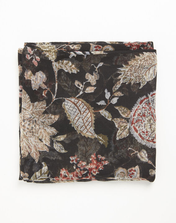 Floral black scarf with floral print (2) - 1-2-3