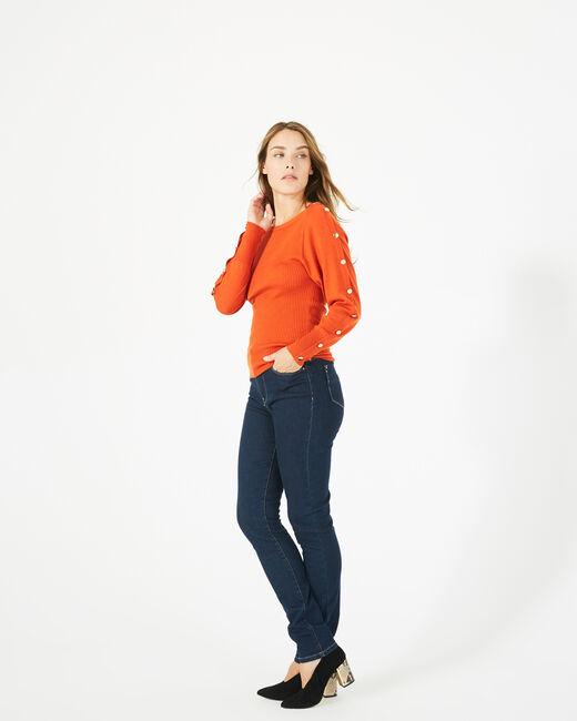Pull orange en laine manches fantaisies Philo (2) - 1-2-3