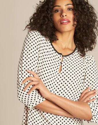 Puderfarbene bluse mit schwarzen tupfen gastrid puder.