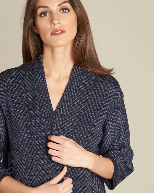 Narnica navy blue printed jacket with cowl neckline (2) - 1-2-3