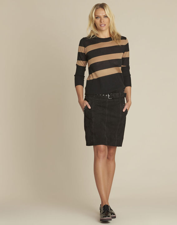Apache black suede leather skirt with eyelets (2) - 1-2-3
