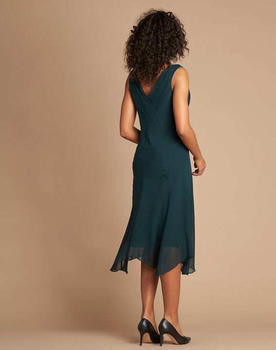 Foret forest green silk swirly midi dress (4) - 1-2-3