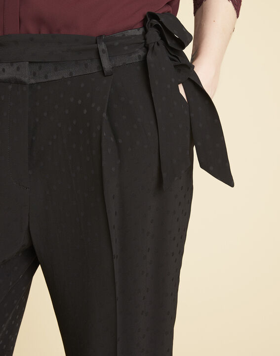 Zwarte broek van jacquard met stippen Harper (3) - 37653