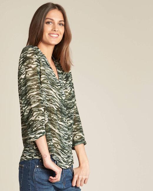 Kaki blouse met camouflageprint Bianca (2) - 37653