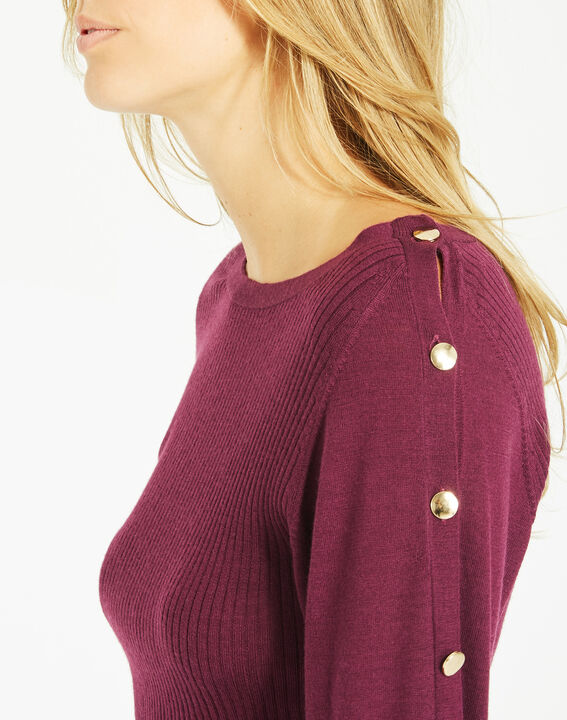 Philo woolen blackcurrant sweater with stylish sleeves (4) - 1-2-3