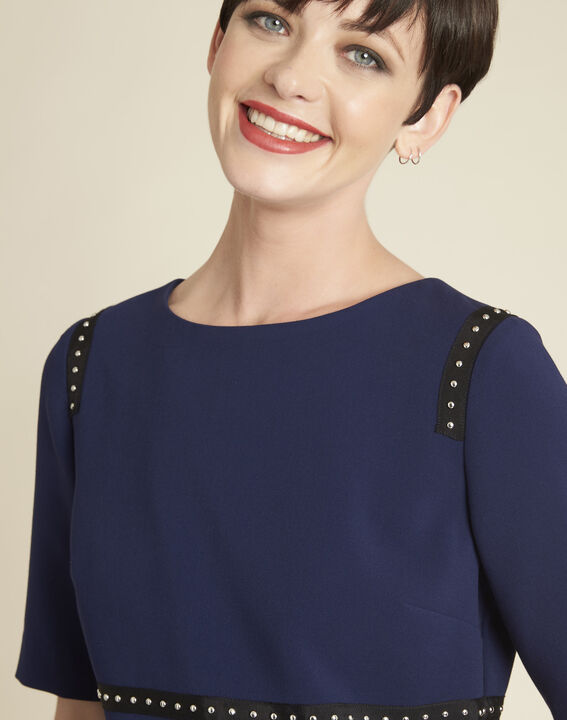 Doris two-tone navy dress with studded detailing (2) - 1-2-3
