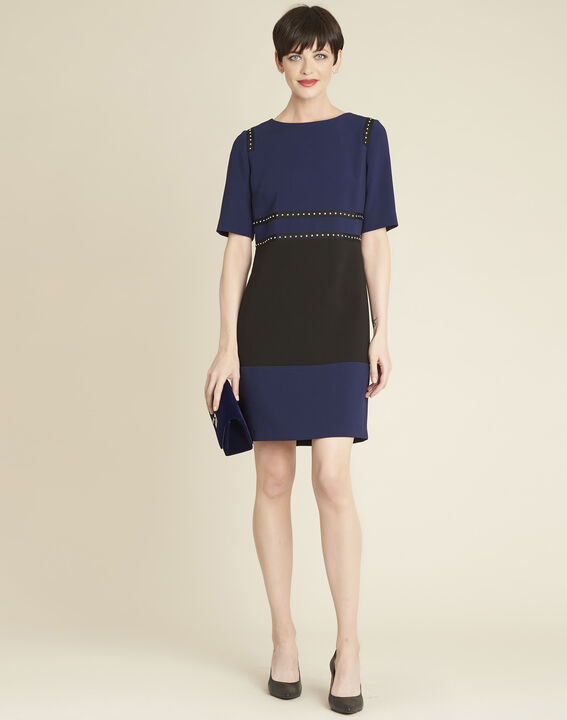 Doris two-tone navy dress with studded detailing (3) - Maison 123