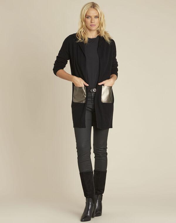 Gilet noir capuche en laine cachemire banquise (2) - 1-2-3
