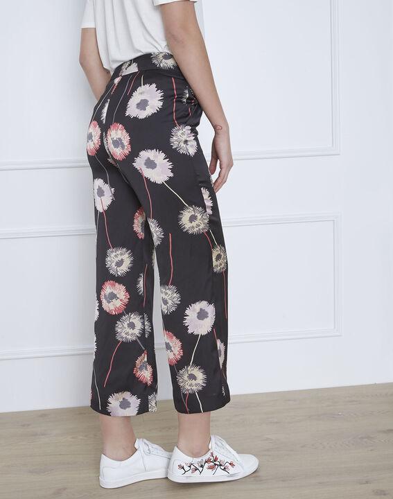 Pantalon noir imprimé fleuri effet satin Gama (4) - Maison 123