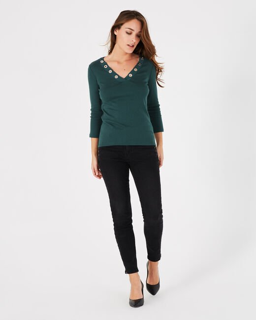 Basic forest green T-shirt with V-neck and eyelets (1) - 1-2-3