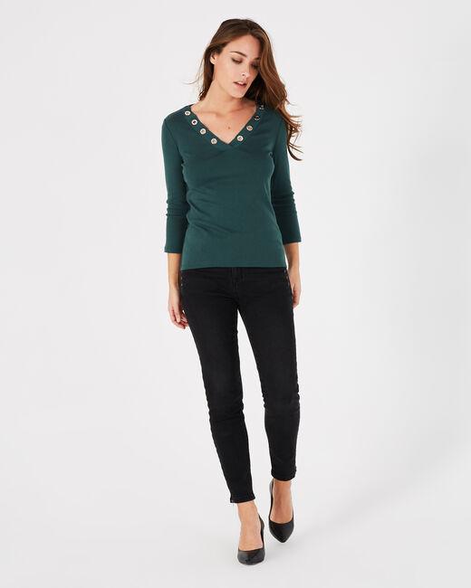 Tee-shirt vert forêt col V à oeillets Basic (1) - 1-2-3
