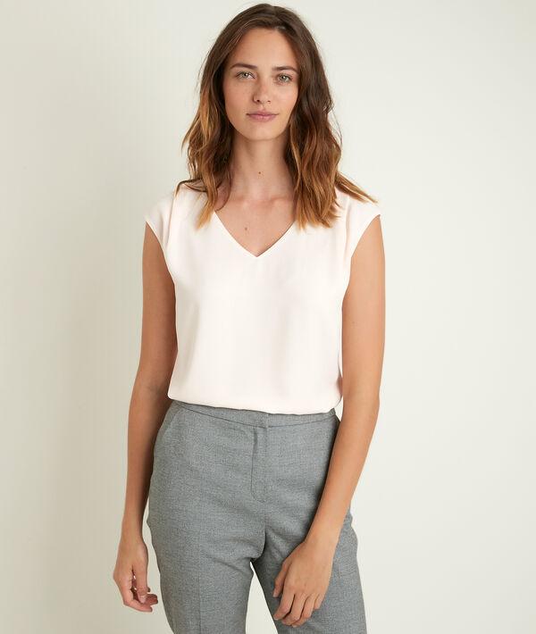 Nude blouse uit twee materialen Neptune PhotoZ | 1-2-3
