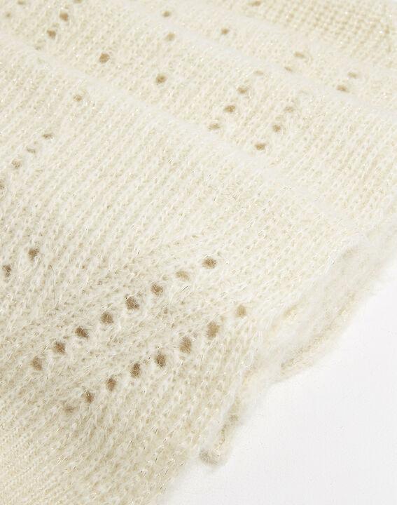 Farel ecru openwork knit scarf (2) - 1-2-3