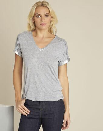 Tee-shirt gris détails épaules glitter light chine.