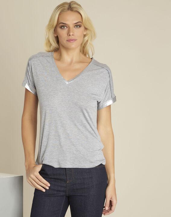 Tee-shirt gris détails épaules Glitter PhotoZ | 1-2-3