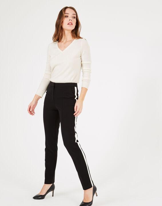 Pantalon de tailleur noir et blanc à bandes Vadim (2) - 1-2-3