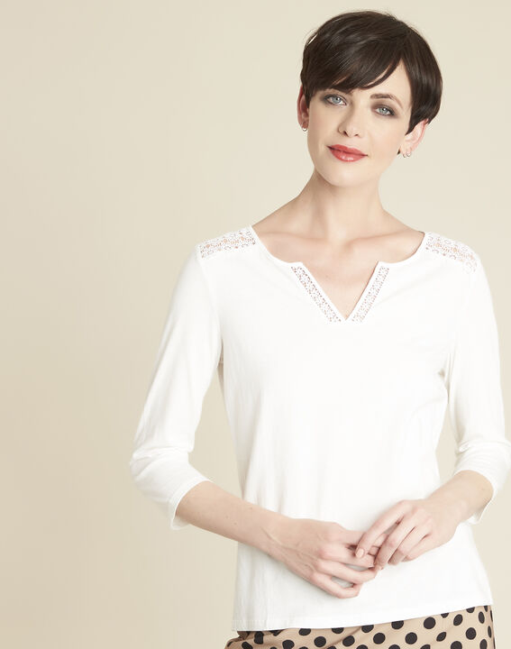 Galia ecru T-Shirt with lace at the neckline PhotoZ | 1-2-3