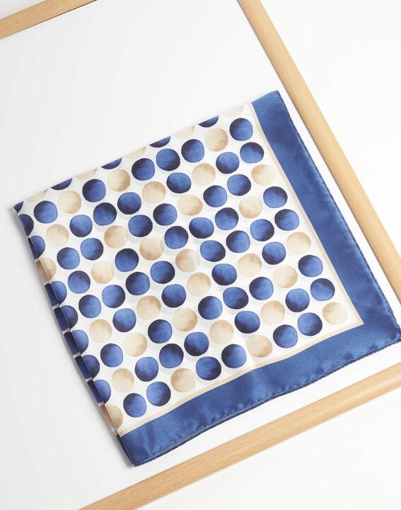 Seidenhalstuch mit blauen Tupfen und Aquarell-Effekt Alexi (2) - 1-2-3