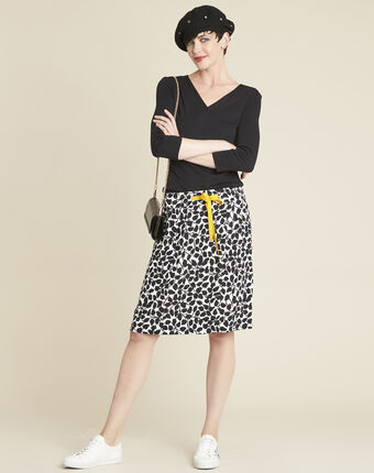 Lutin leaf print skirt with grosgrain belt off white.
