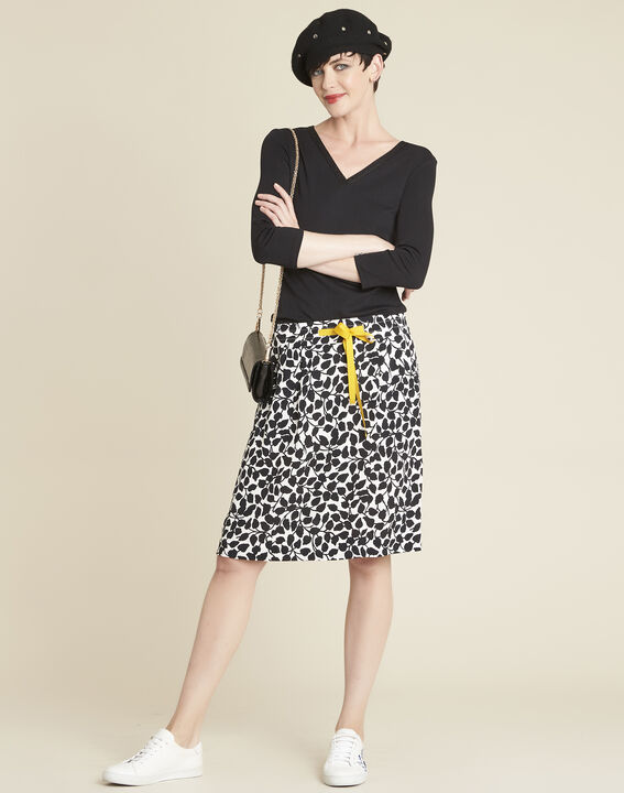 Lutin leaf print skirt with grosgrain belt (2) - Maison 123