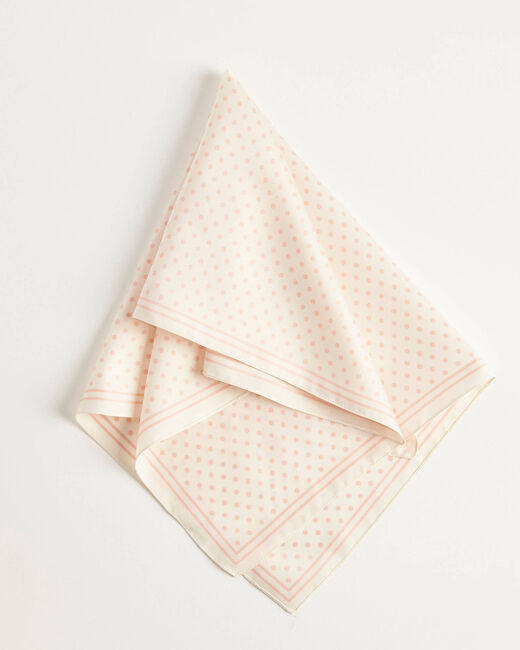 Adelita ecru square scarf with polka dots (2) - 1-2-3