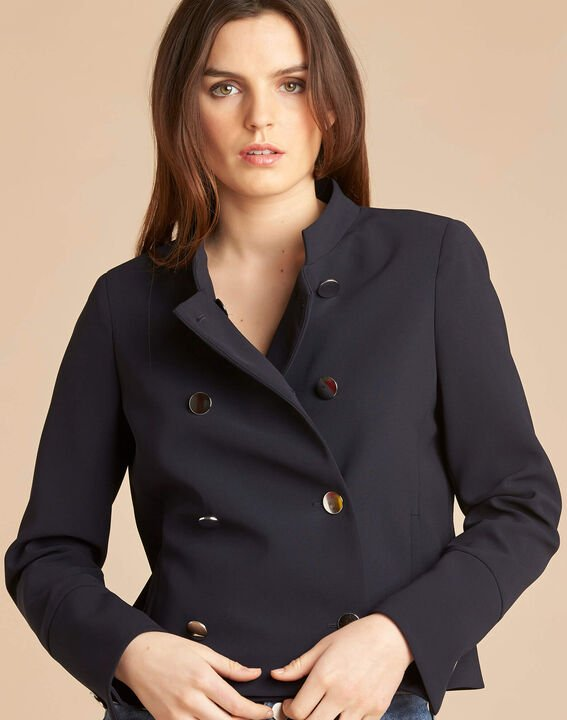 Citron navy blue collarless jacket PhotoZ | 1-2-3