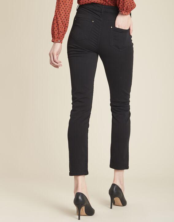 Vendôme 7/8 length slim-cut black cotton satin jeans (4) - 1-2-3