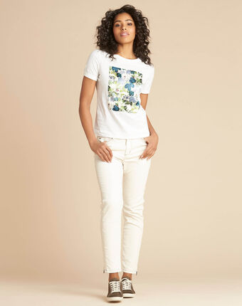Esquare ecru t-shirt with floral pattern ecru.