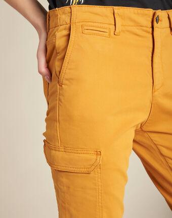 Pantalon jaune moutarde cargo 7/8ème damien bouton d`or.
