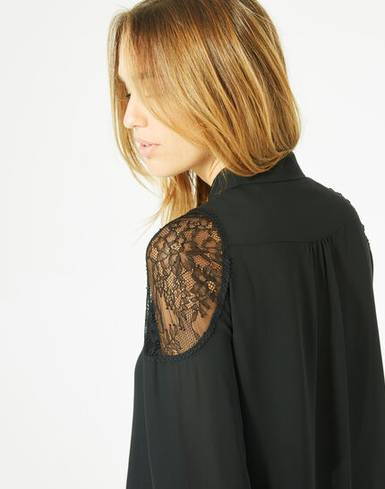 Delta black blouse with shirt collar (3) - 1-2-3