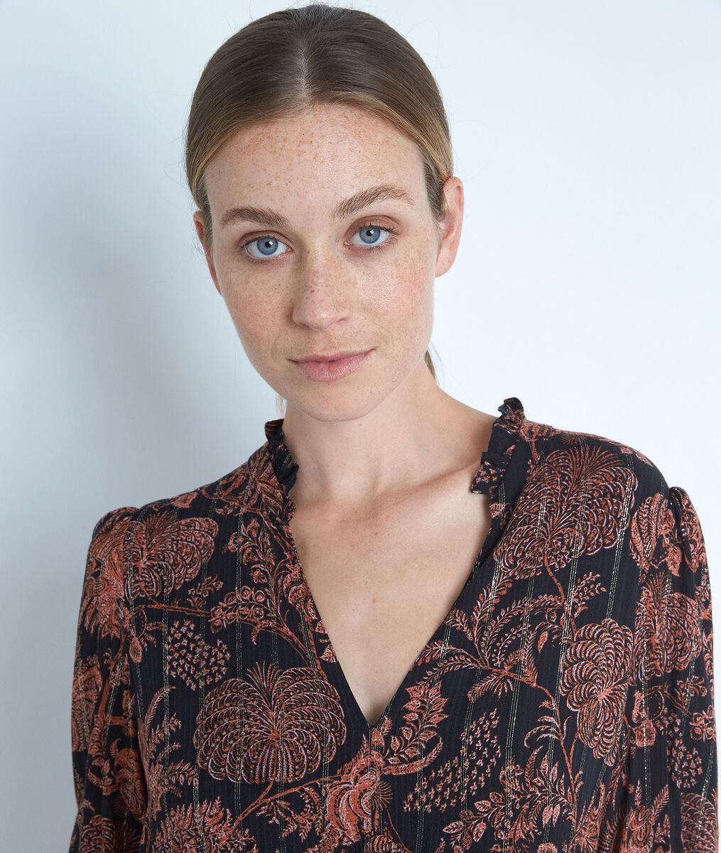Zwart-oranje korte jurk met print Lais PhotoZ | 1-2-3
