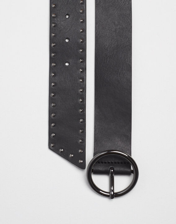 Raphael wide black leather studded belt PhotoZ | 1-2-3