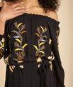 Robe noire longue brodée Pervenche PhotoZ | 1-2-3