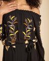 Robe noire longue brodée Pervenche (1) - 1-2-3