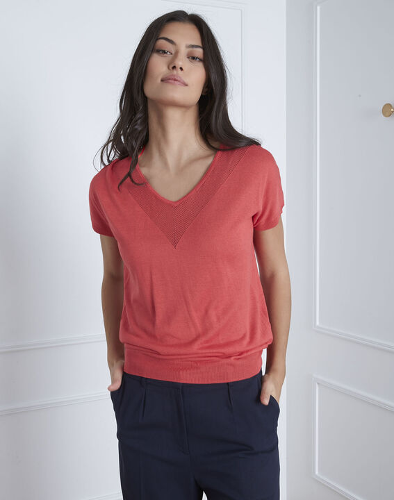Roter Pullover mit Hals-Detail Never (2) - Maison 123