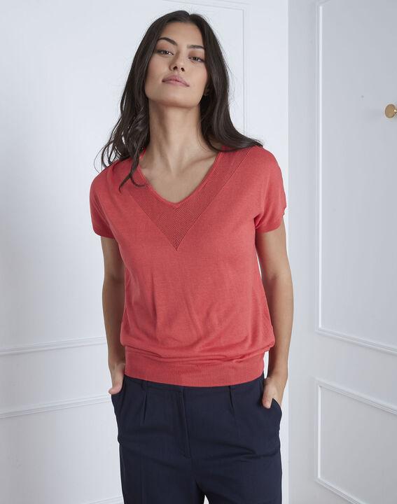Pull rouge détail encolure Never (2) - Maison 123