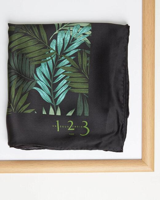 Carré de soie imprimé fleur vert Adélie (1) - 1-2-3