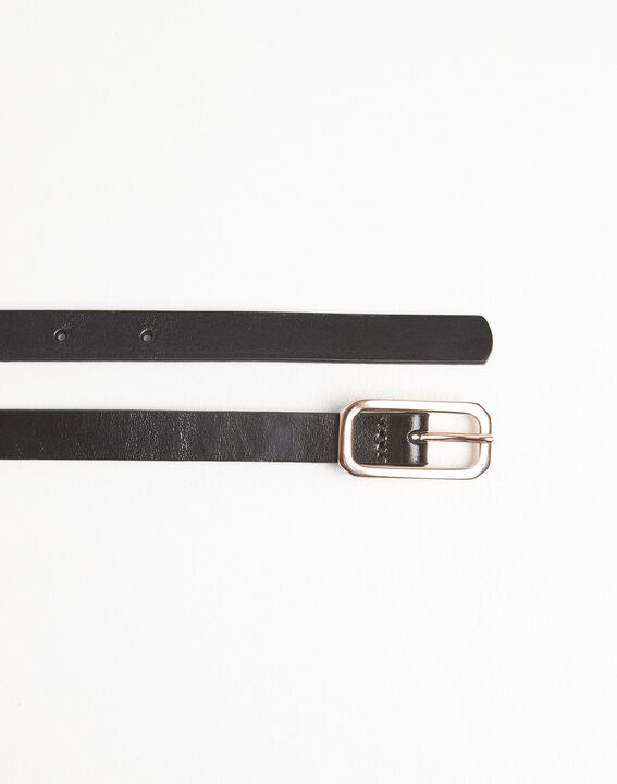 Quinto slim black leather belt (3) - Maison 123