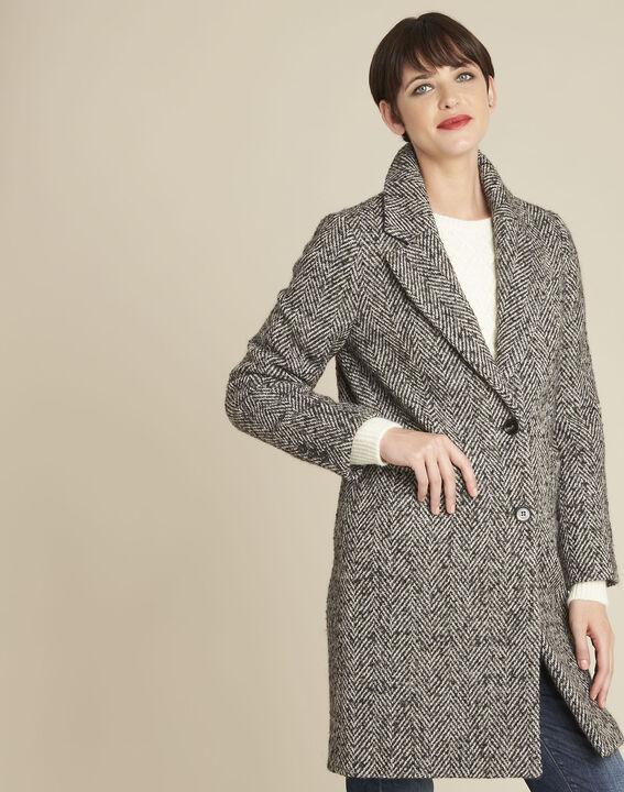 Manteau gris pâle chiné laine mélangée Erwan (1) - 1-2-3