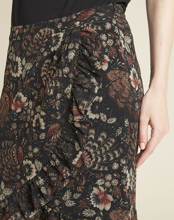 Anis black skirt with floral print (2) - 1-2-3